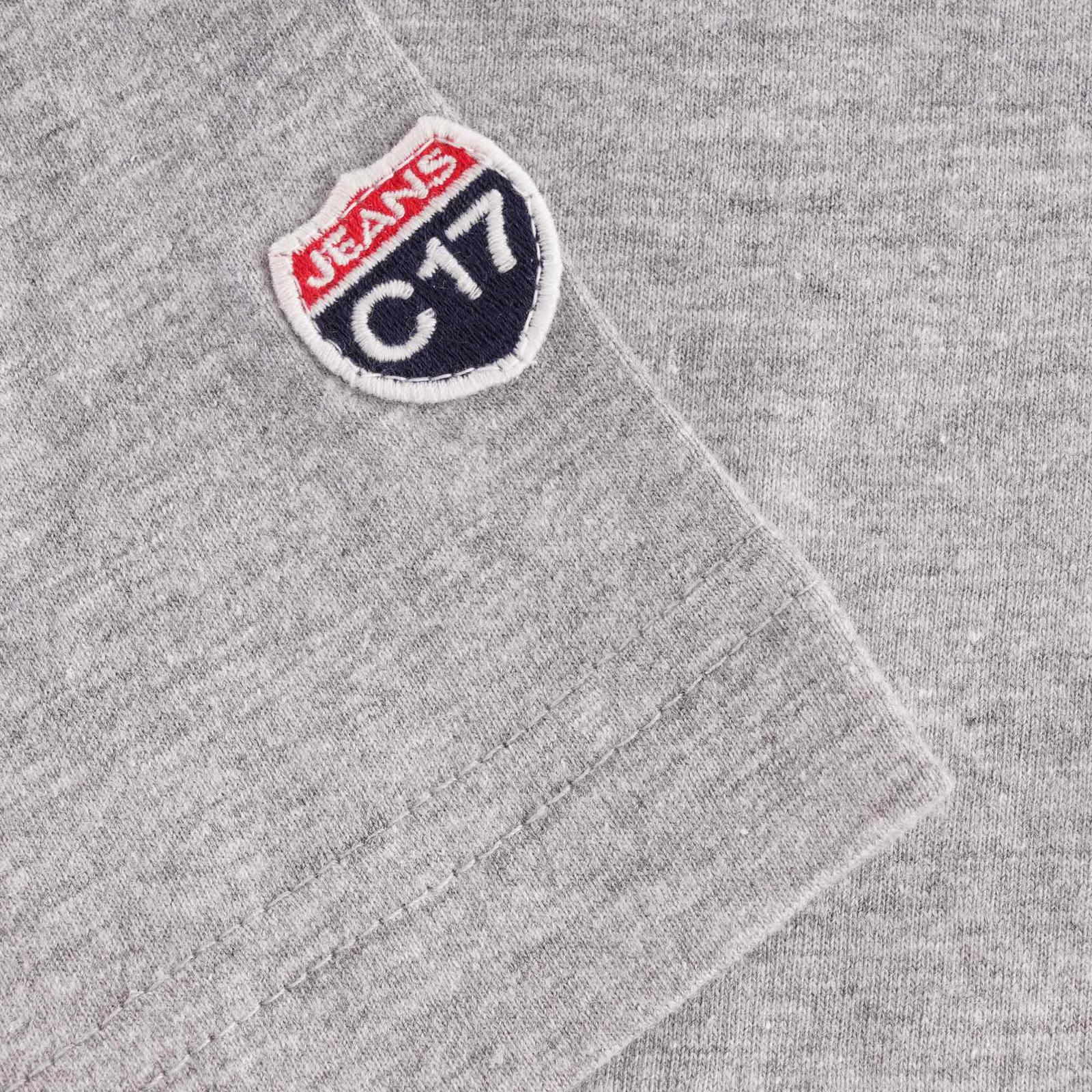 Close up of grey t-shirt