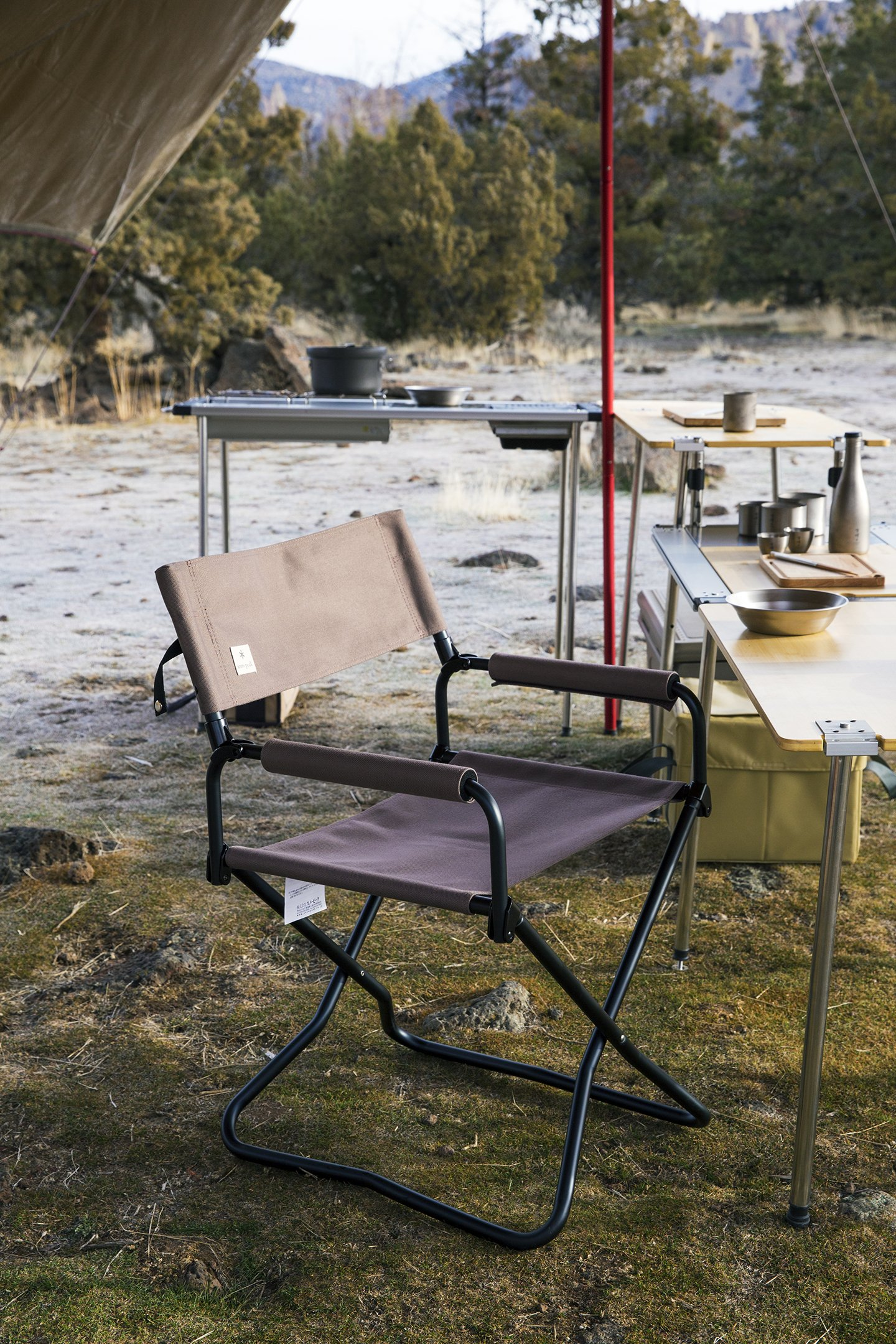 Campsite scene close up of chair