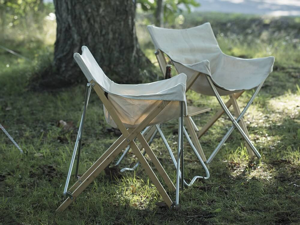 Bamboo chairs on campsite