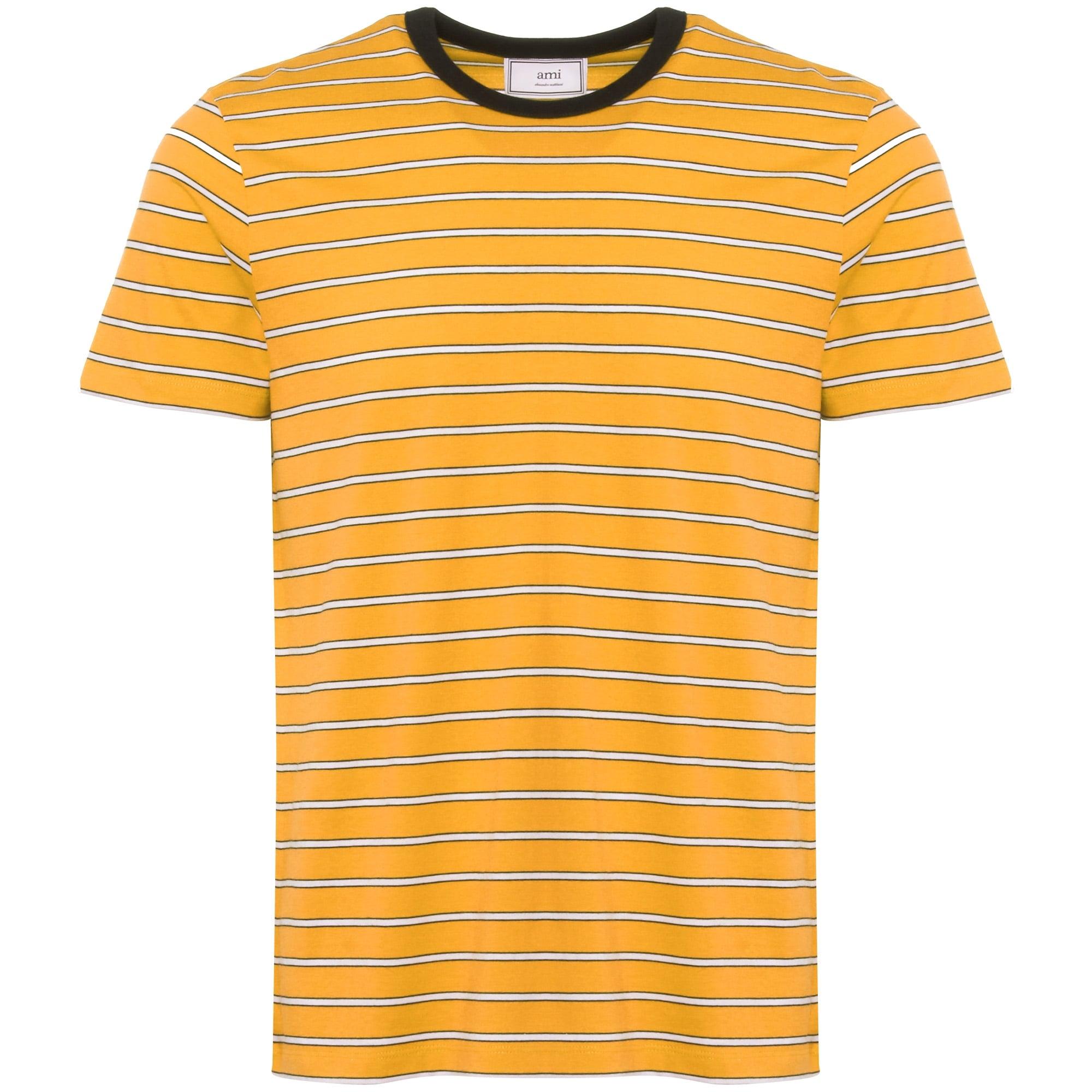 Striped Short Sleeves T-Shirt - Jaune