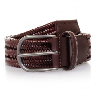 Anderson's Woven Wine Braided Leather Belt AF2817