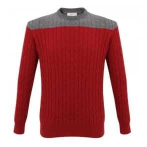 Barbour X Norton And Sons Callagham Chilli red Cashmere Jumper MKN0770RE31