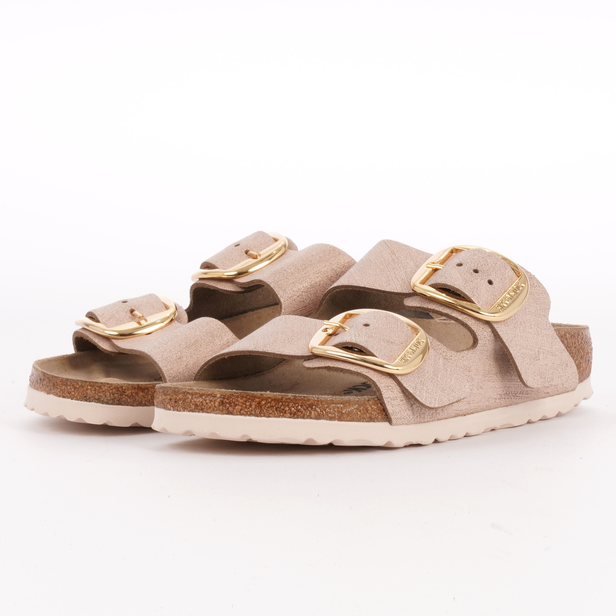Arizona Big Buckle Sandals - Washed Metallic Rose Gold