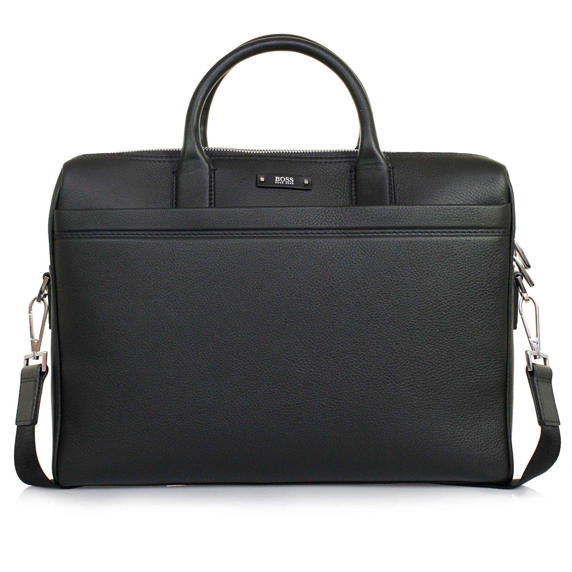 8dbb95dbe4 Hugo Boss Traveller_S Doc Black Leather Laptop Bag 50311773