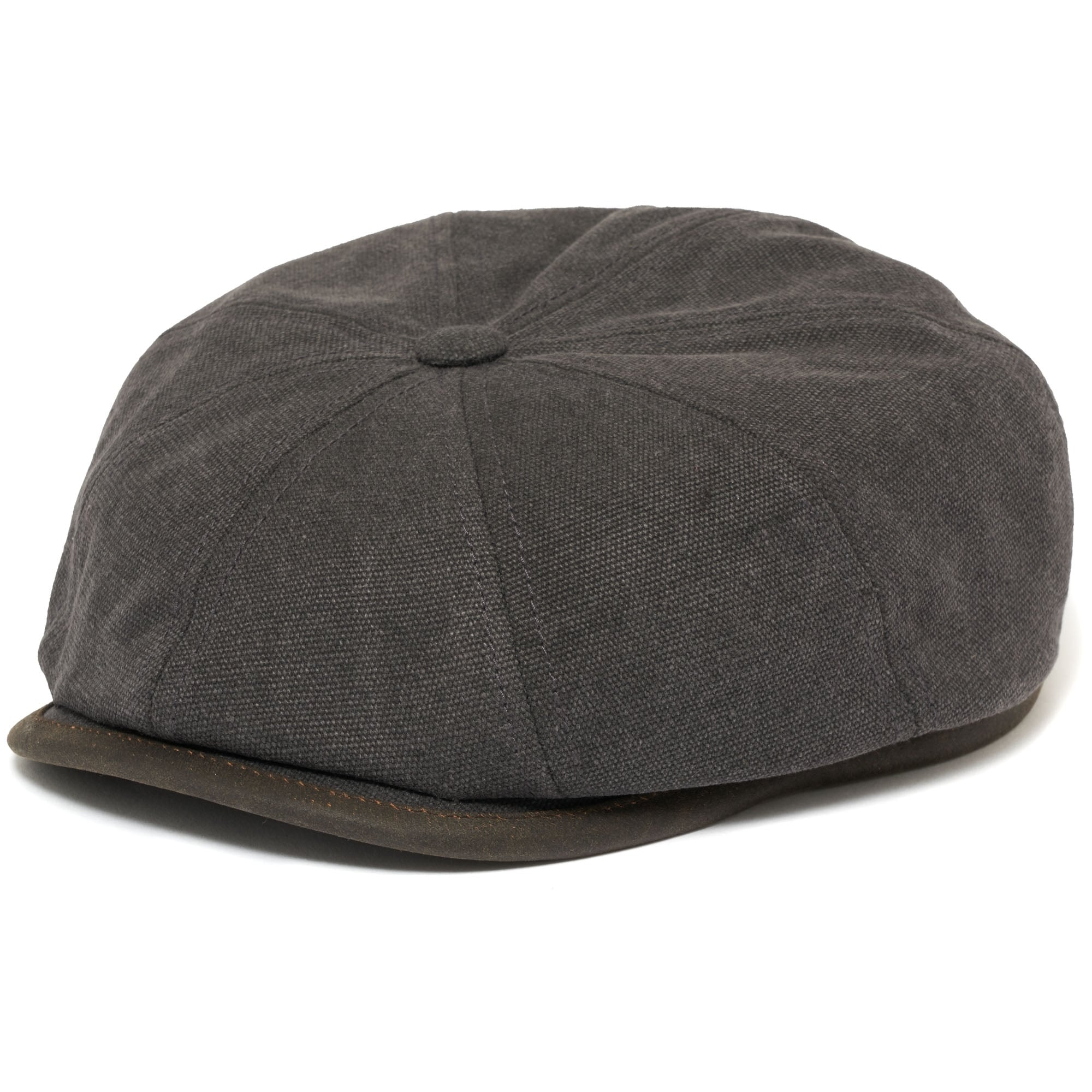 58272350 Stetson Anthracite Canvas Hatteras Flat Cap | Stuarts London