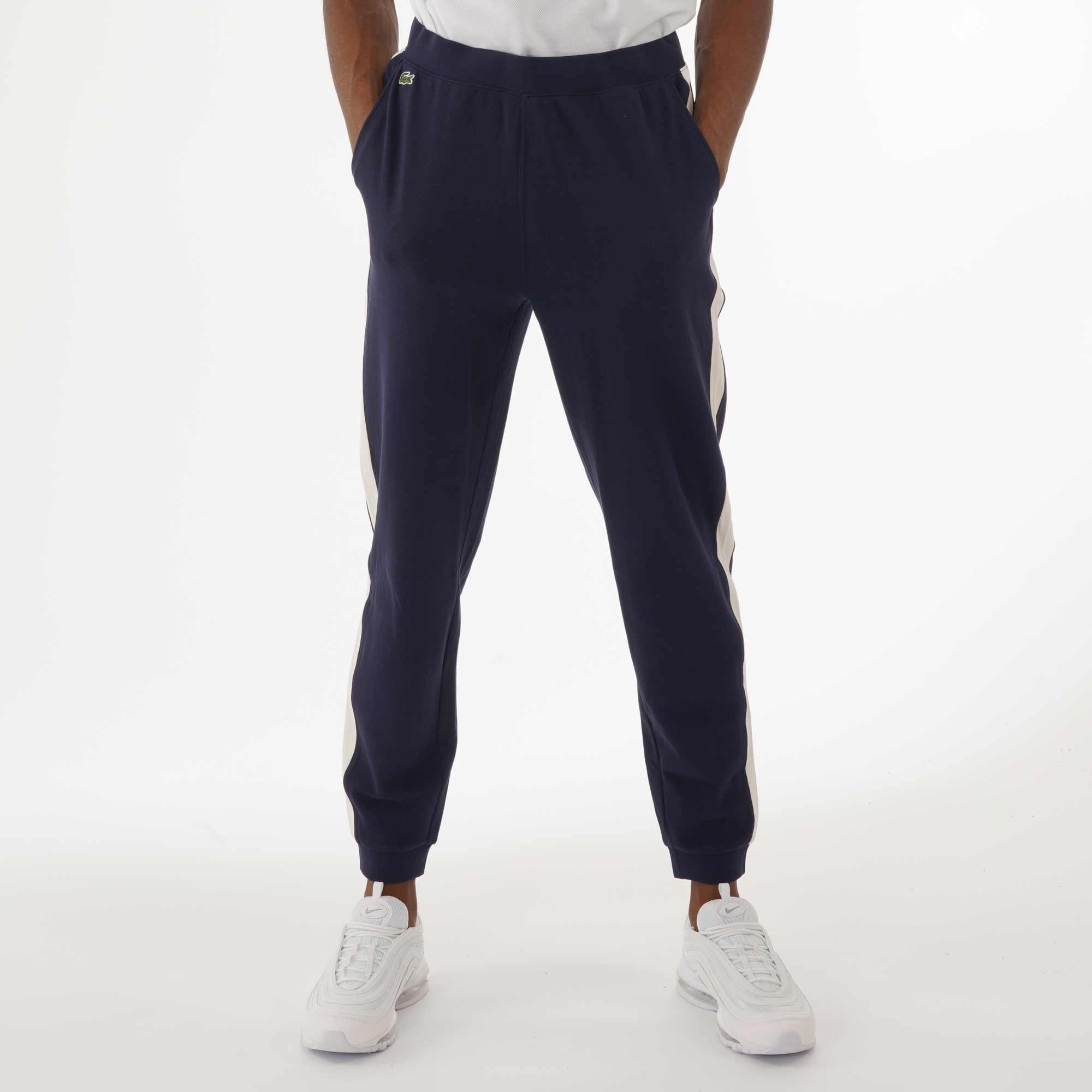 3a5f6bb216 Colour Block Piqué Fleece Sweatpants - Navy & White