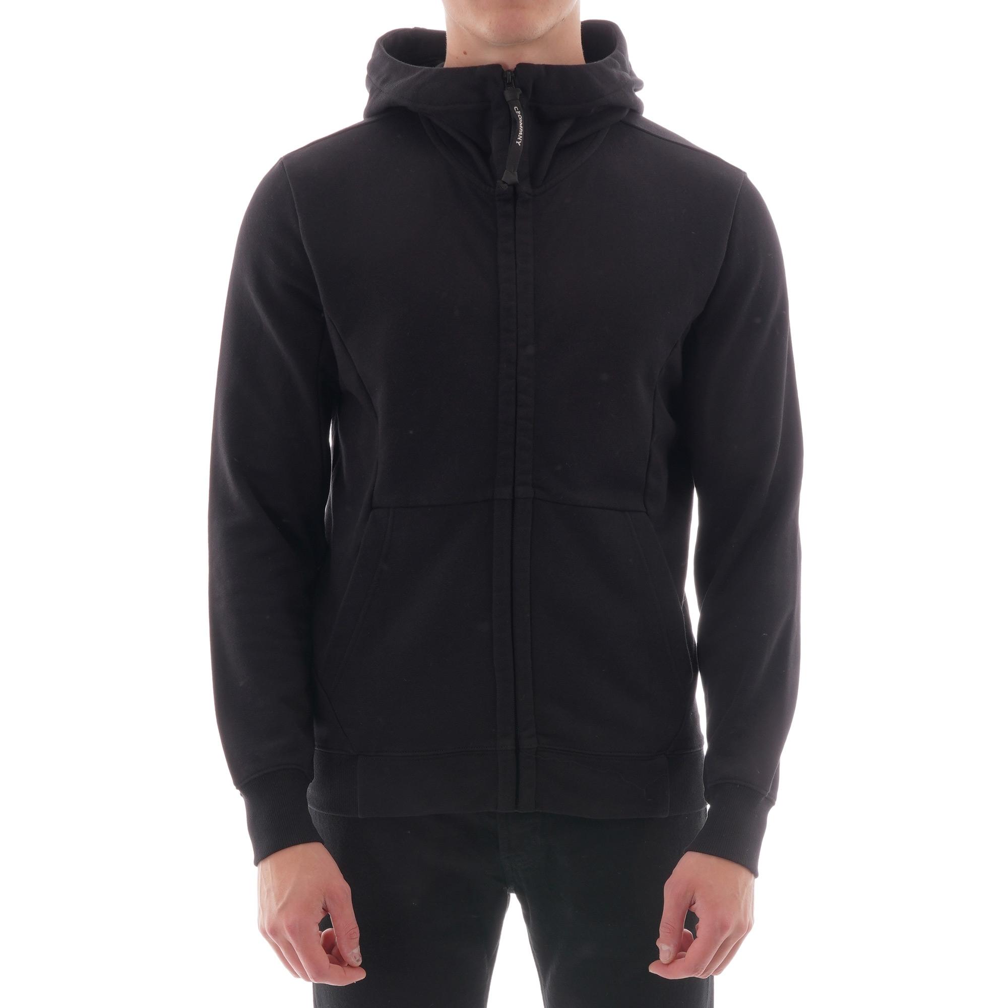 Image of Diagonal Raised Fleece Goggle Full Zip Hoodie - Black