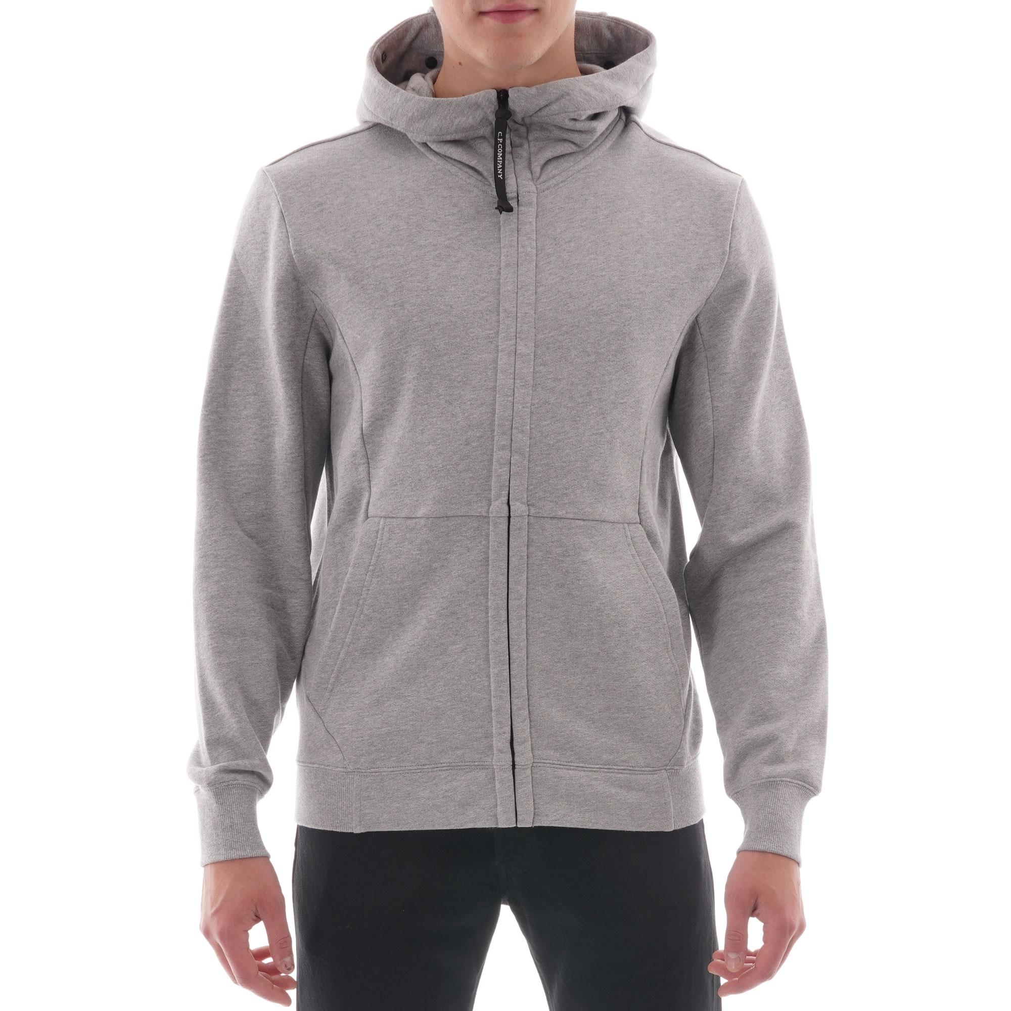 Image of Diagonal Raised Fleece Goggle Full Zip Hoodie - Grey
