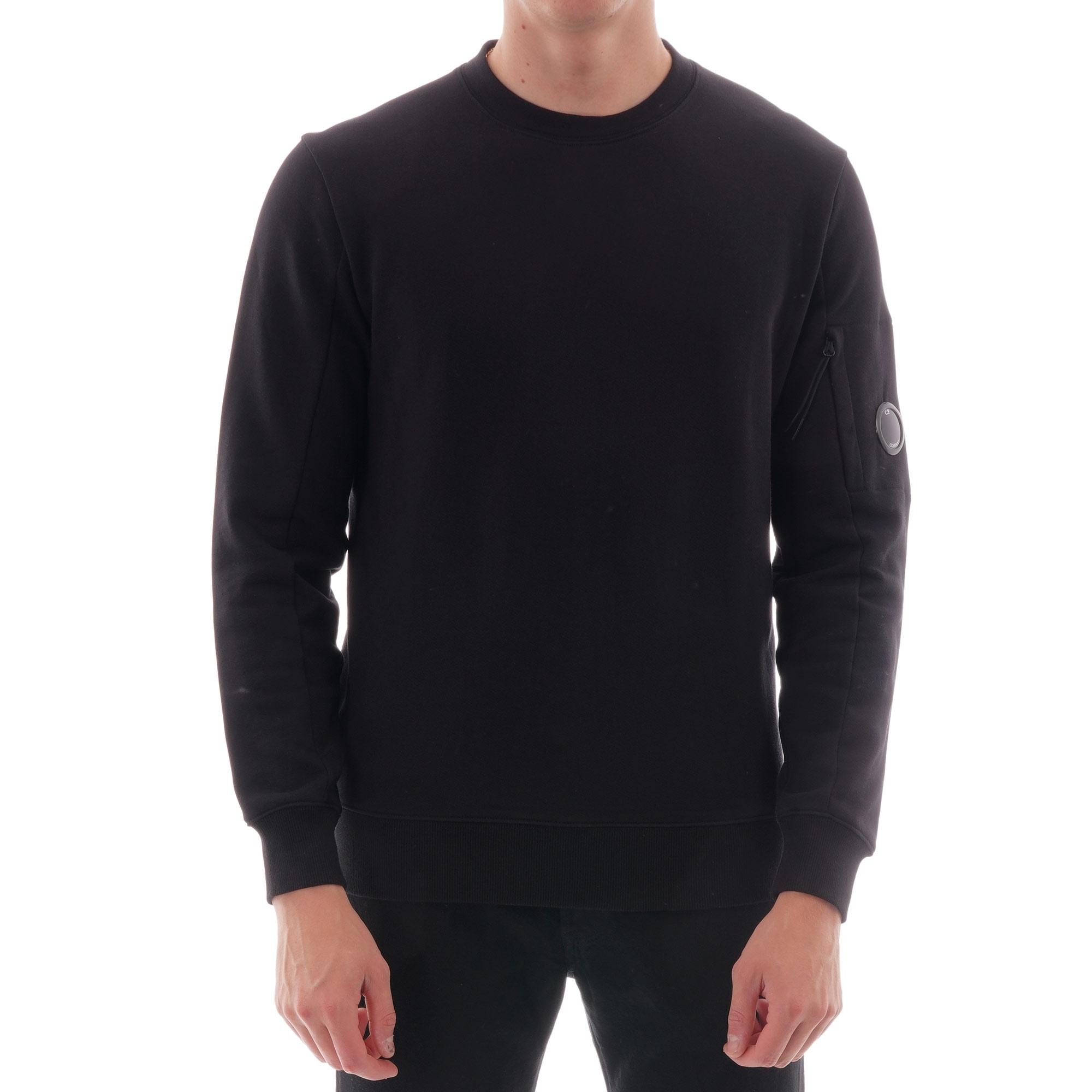 Image of Garment Dyed Light Fleece Lens Crew Sweatshirt - Black