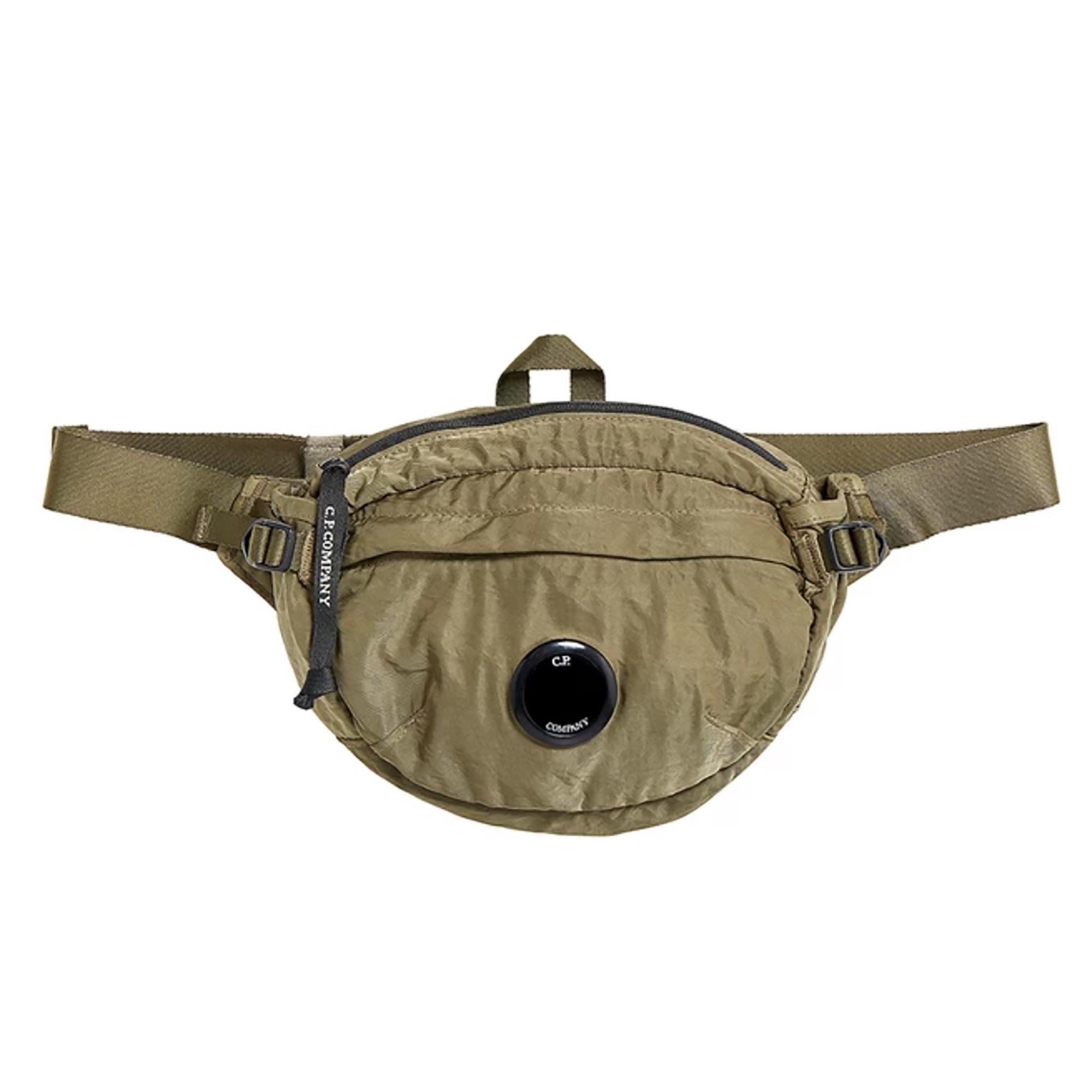 CP Company Garment Dyed Nylon Sateen Lens Waist Bag Olive