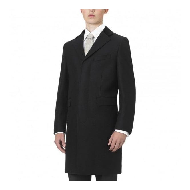 5354a7a052d2 Crombie Black Retro Wool Coat 3254B