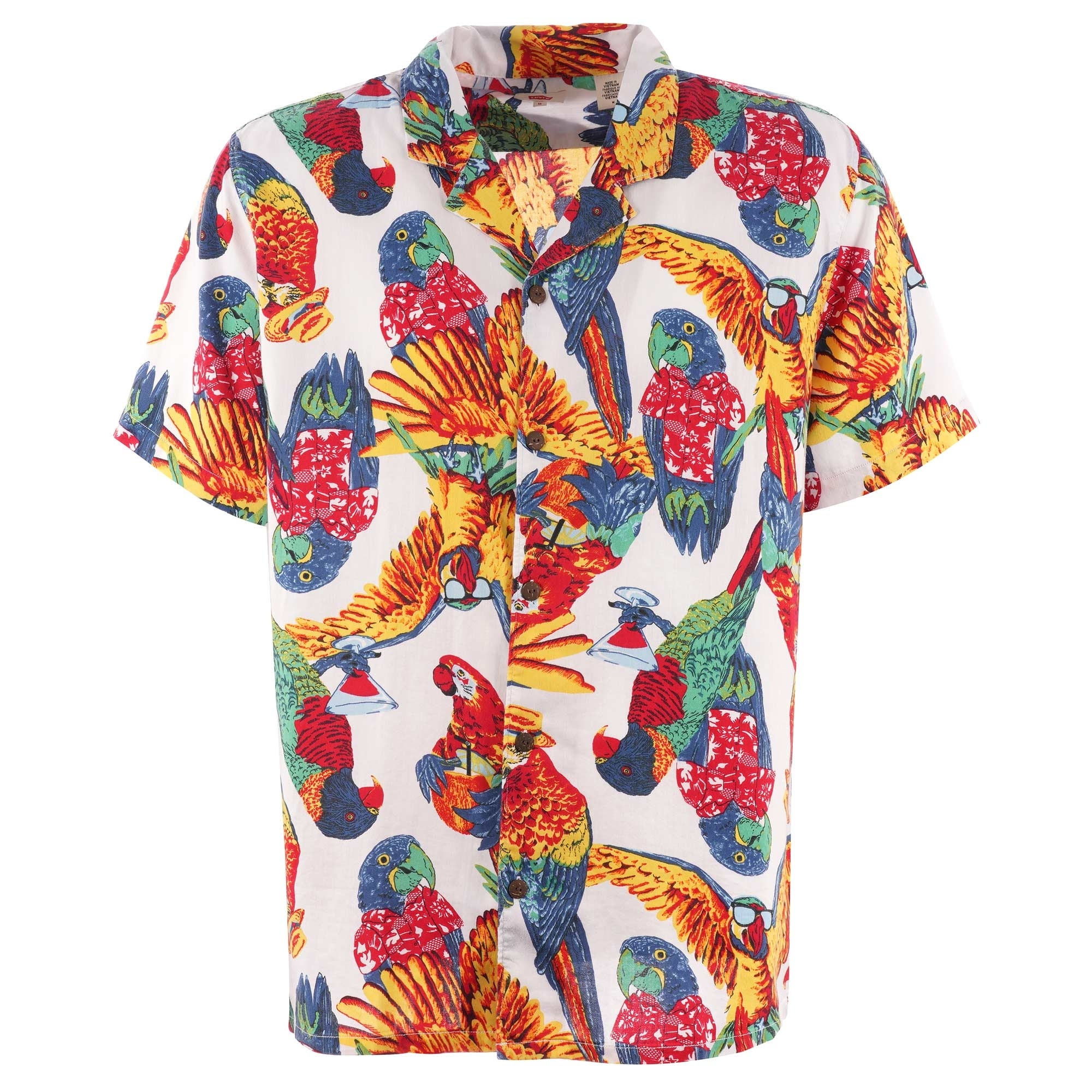 25cf0f858f Cubano Short Sleeve Shirt - Parrots Brilliant White