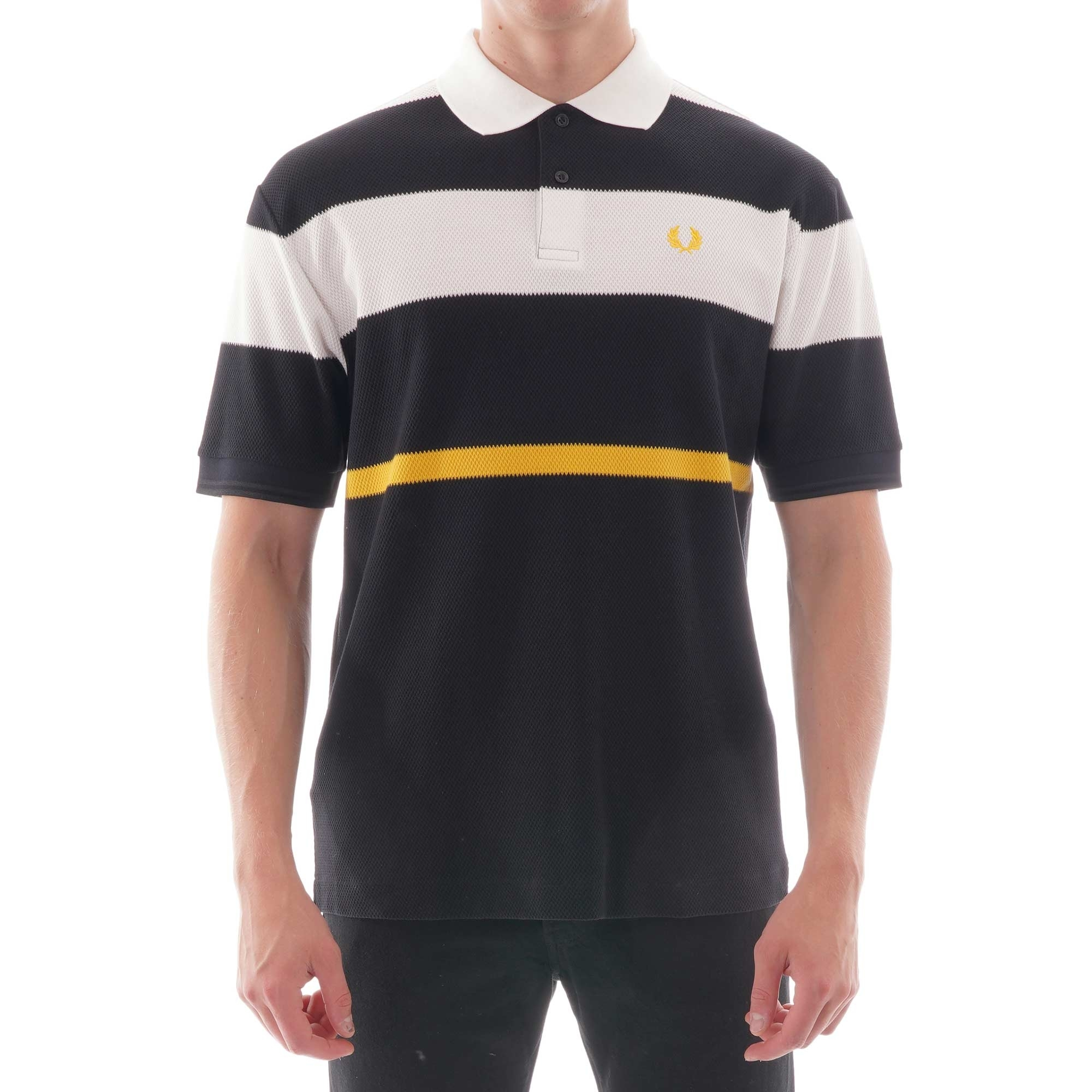 Image of Bold Stripe Polo Shirt - Black