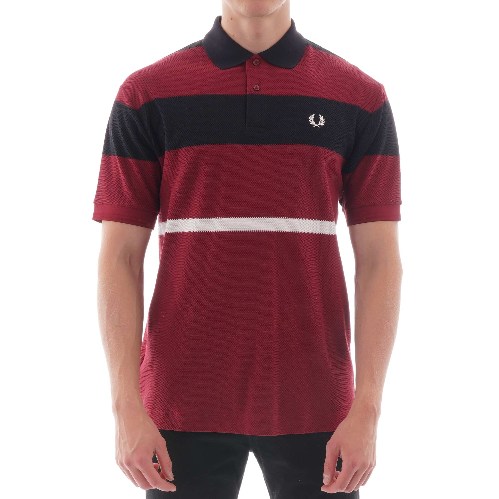 Image of Bold Stripe Polo Shirt - Dark Red