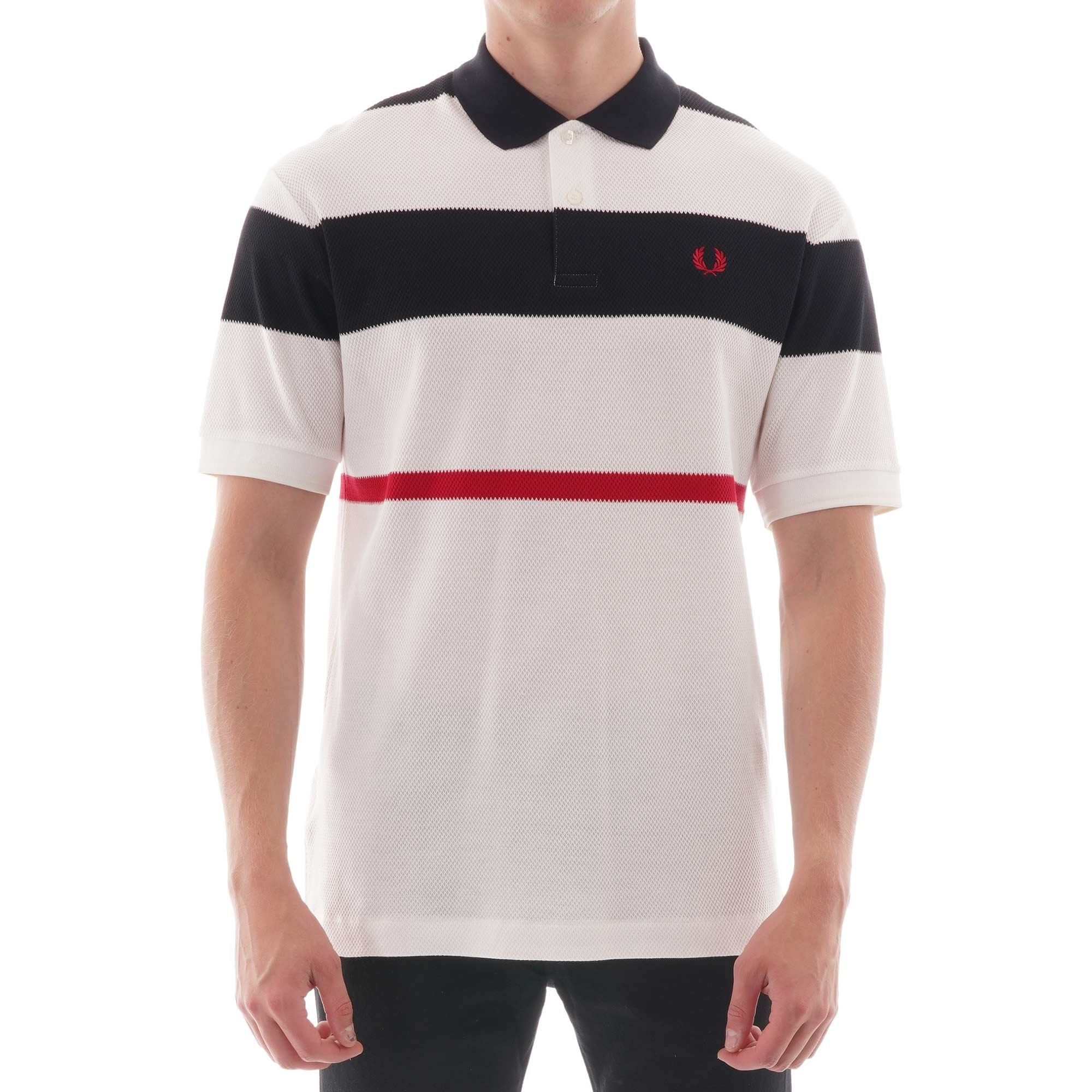 Image of Bold Stripe Polo Shirt - Snow White