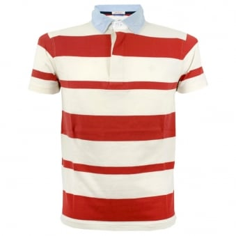 Gant Rugger Awning Stripe Heavy Rugger Pomegranate  Polo Top 202126