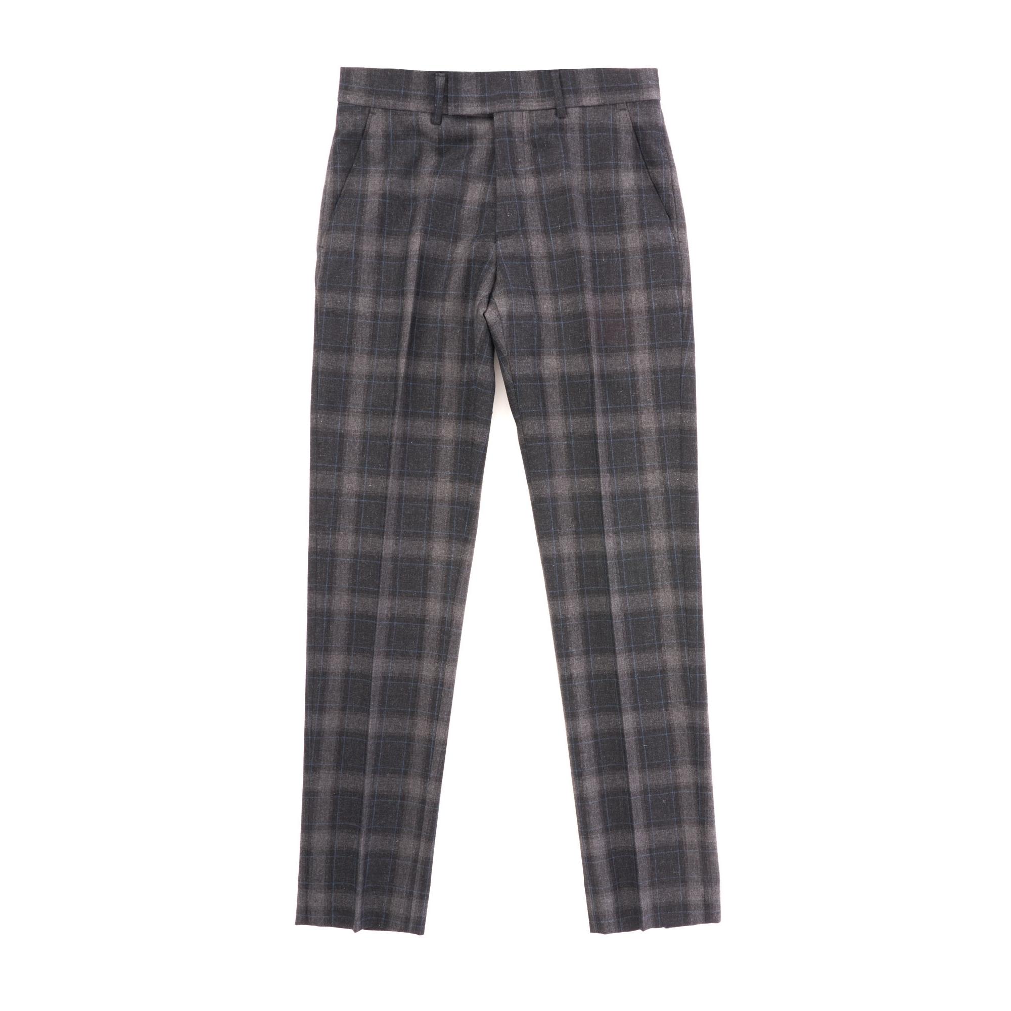 Tartan Check Trousers - Charcoal