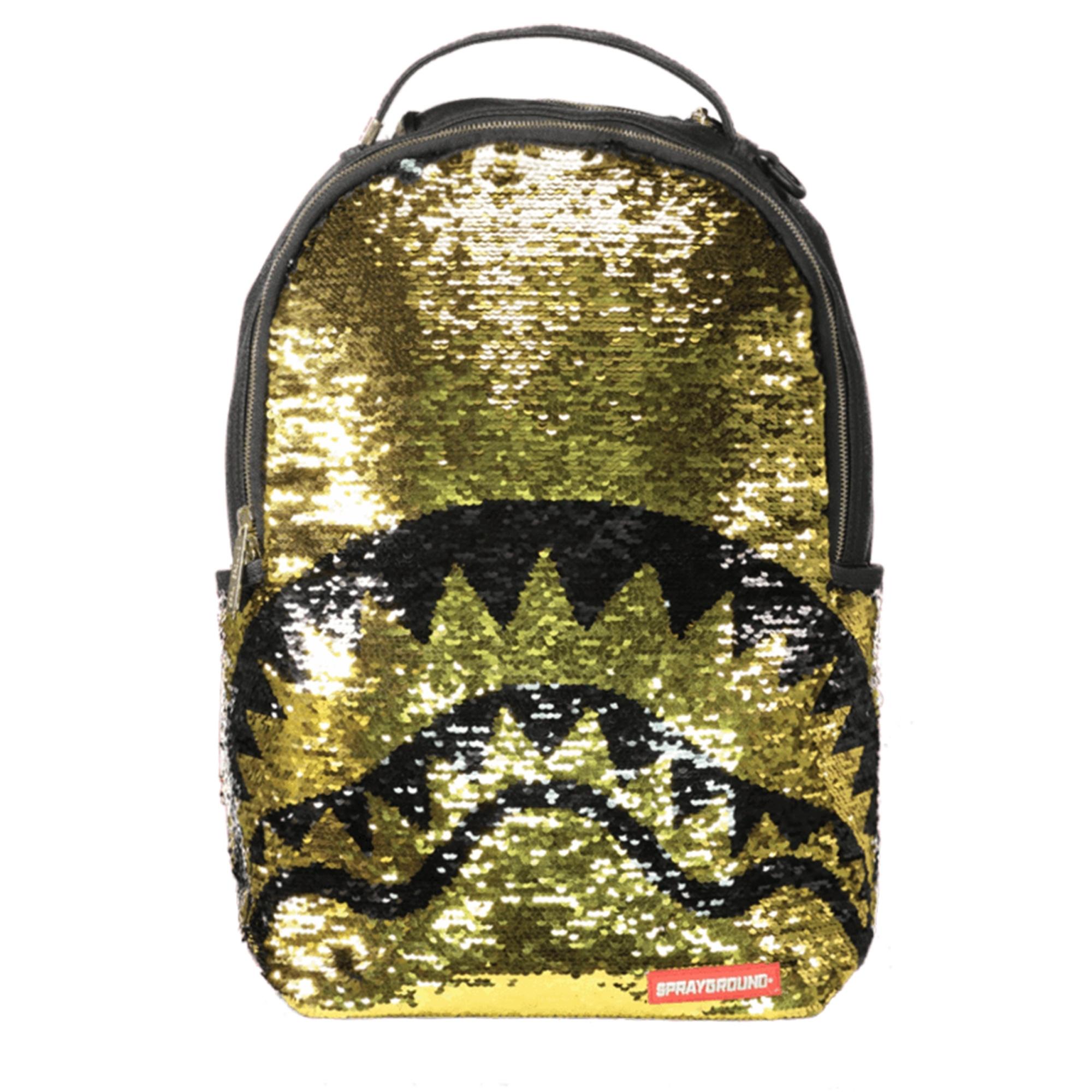 64de4ff5c5b Sprayground Gold Sequin Shark Backpack