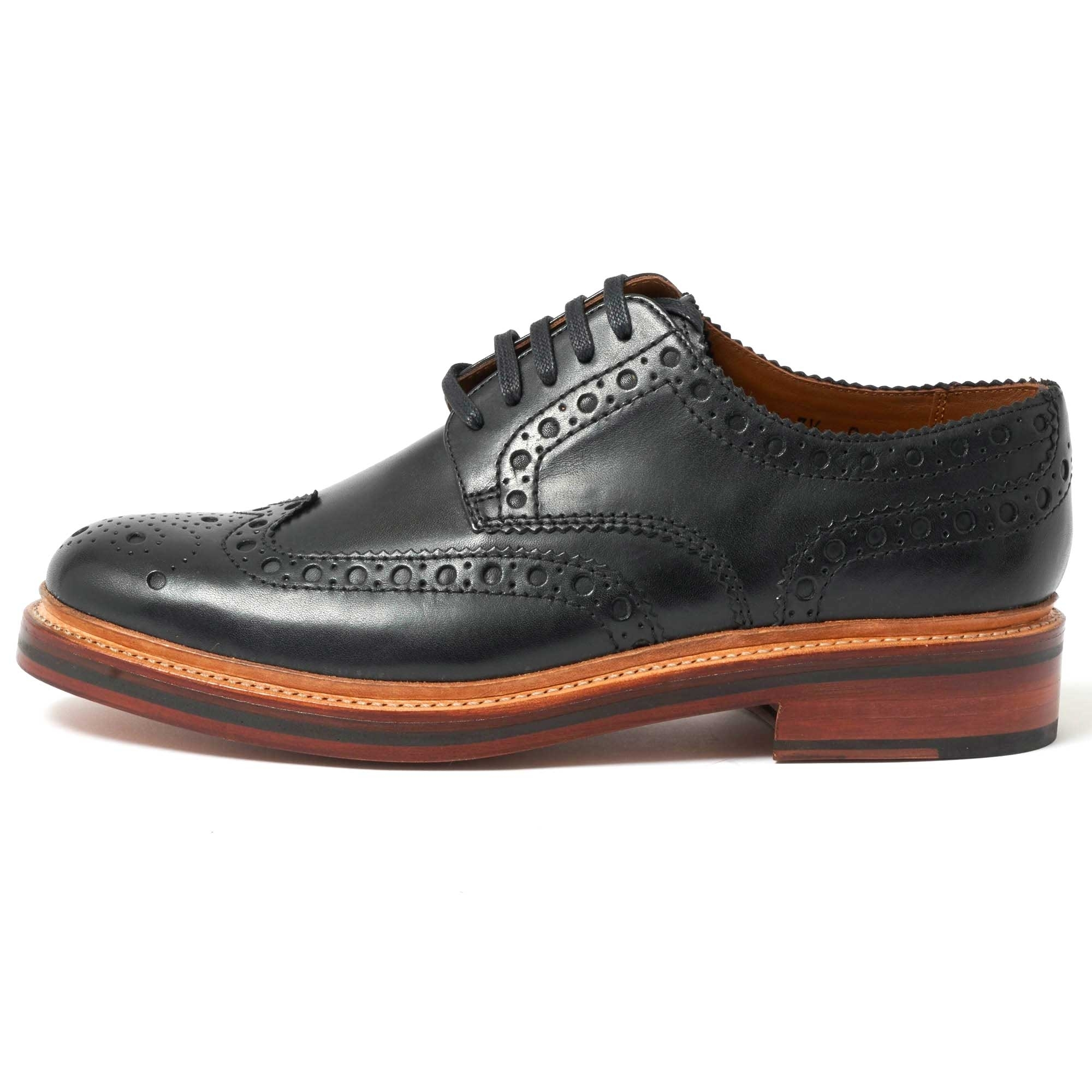 Grenson UK   Archie Black Brogue Shoes