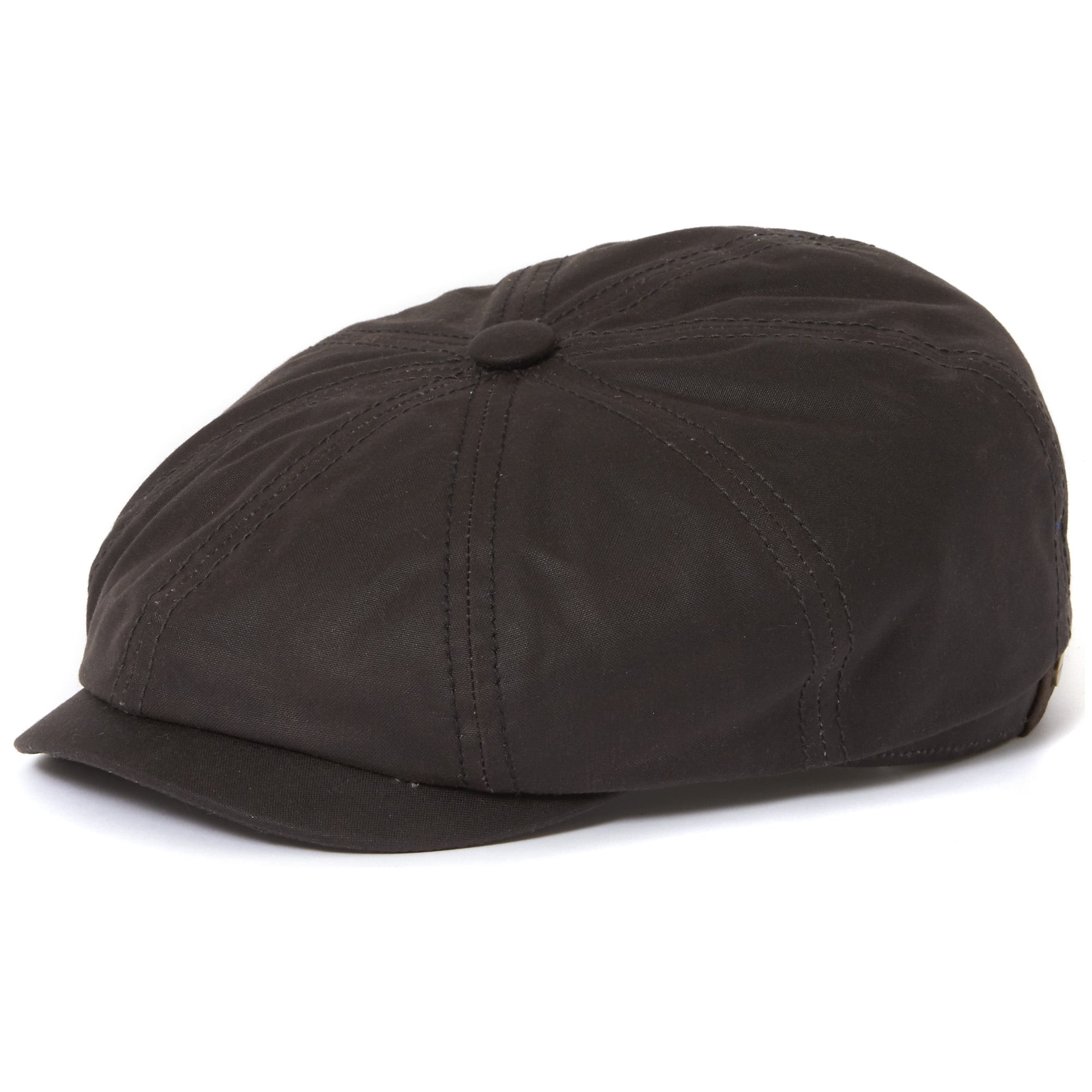 82bf399324f Stetson Hatteras Waxed Cotton Black Newsboy Cap