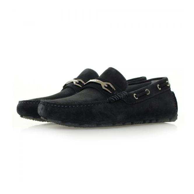 be8a19827f6 Hugo Boss Dripin Dark Blue Suede Moccasins Shoe 50310871
