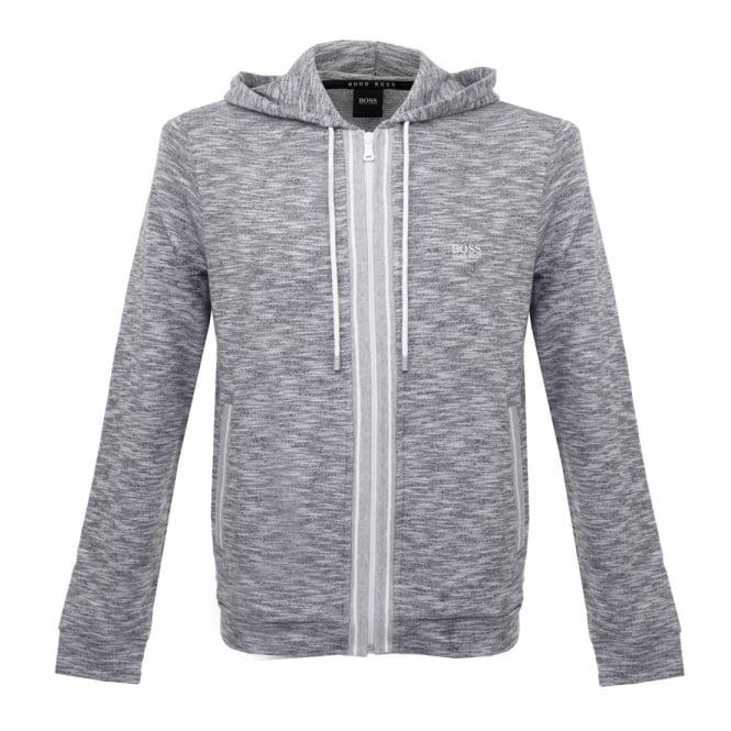 8cb259353db Hugo Boss Lounge Zip Up Grey Marl Hoodie Sweatshirt 503148gr