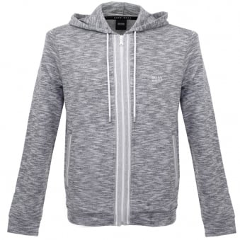 Hugo Boss Lounge Zip Up Grey Marl Hoodie Sweatshirt 503148gr