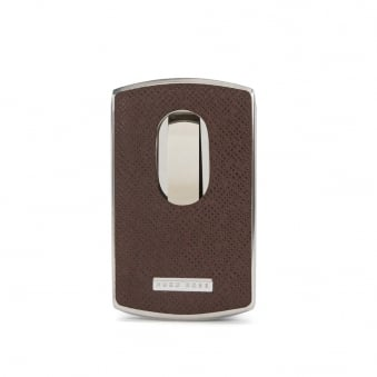 Hugo Boss Signature Dark Brown Metal Card Holder 50311750