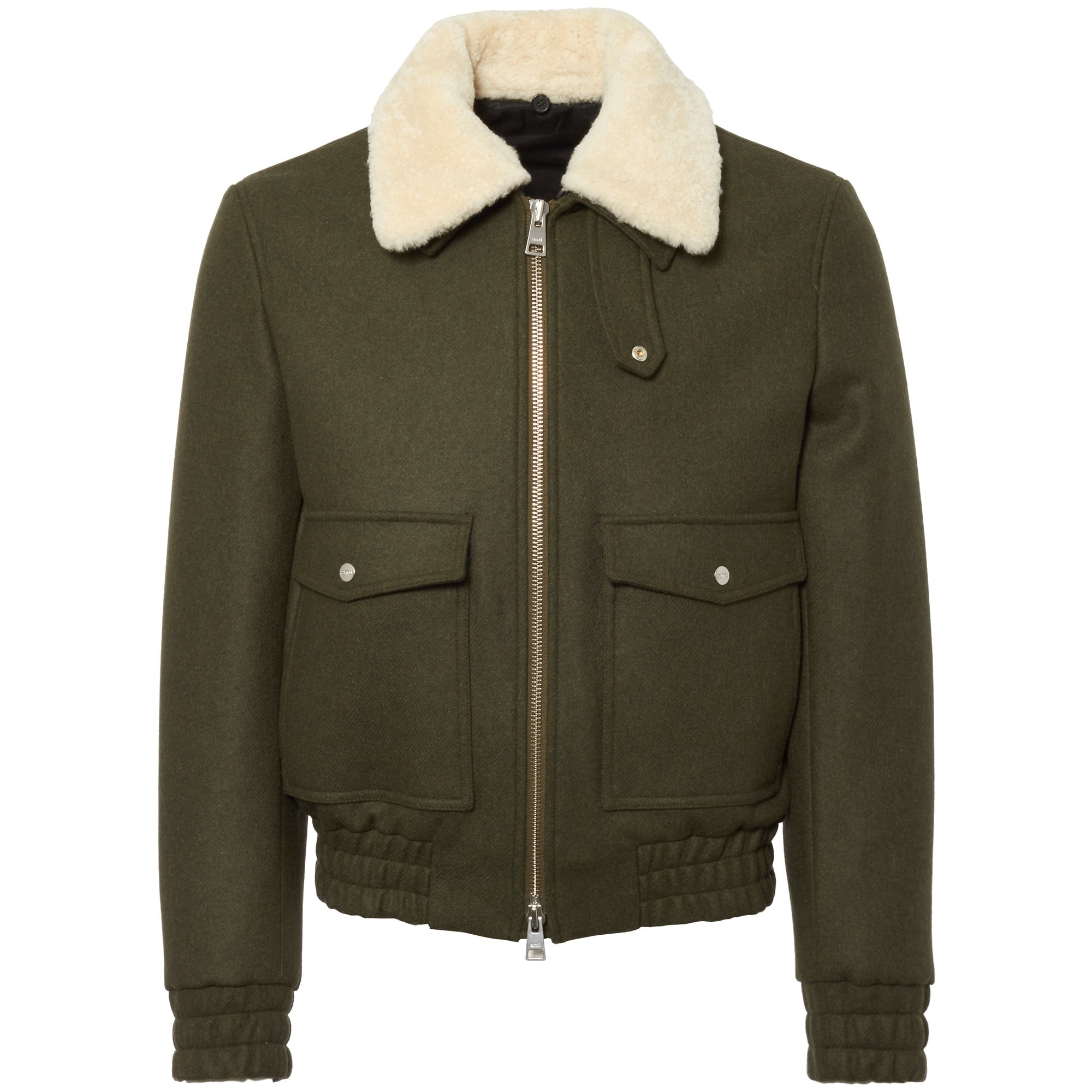 b32e4c5b6 AMI Khaki Zipped Jacket with Shearling Collar