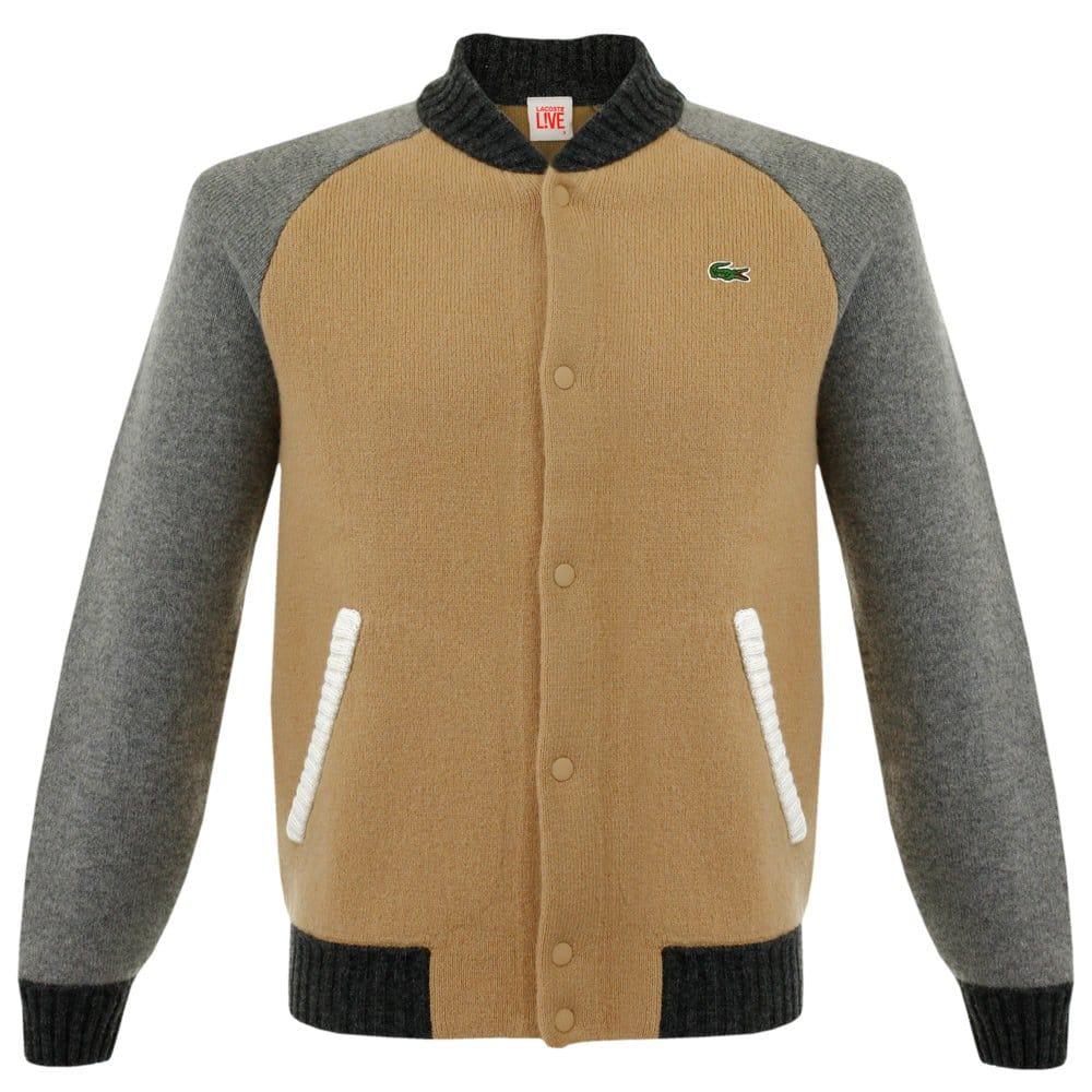 lacoste live uk varsity wool knit jacket. Black Bedroom Furniture Sets. Home Design Ideas