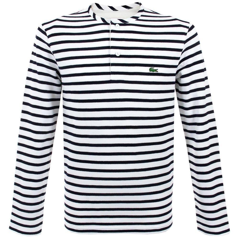 Lacoste live shop white navy blue striped t shirt for Blue white striped t shirt