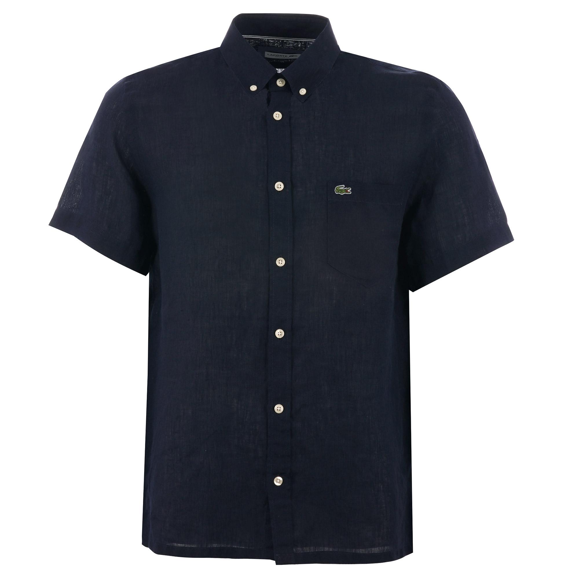 Short Sleeve Linen Shirt - Navy