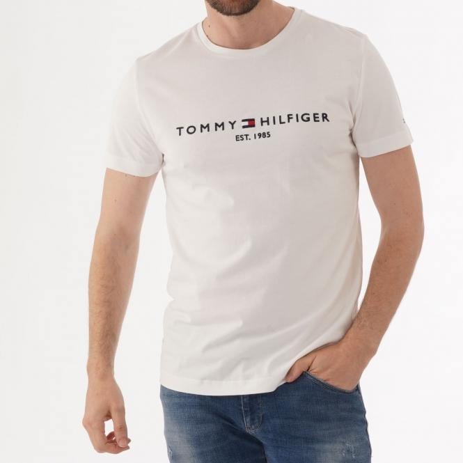 tommy hilfiger white logo t shirt