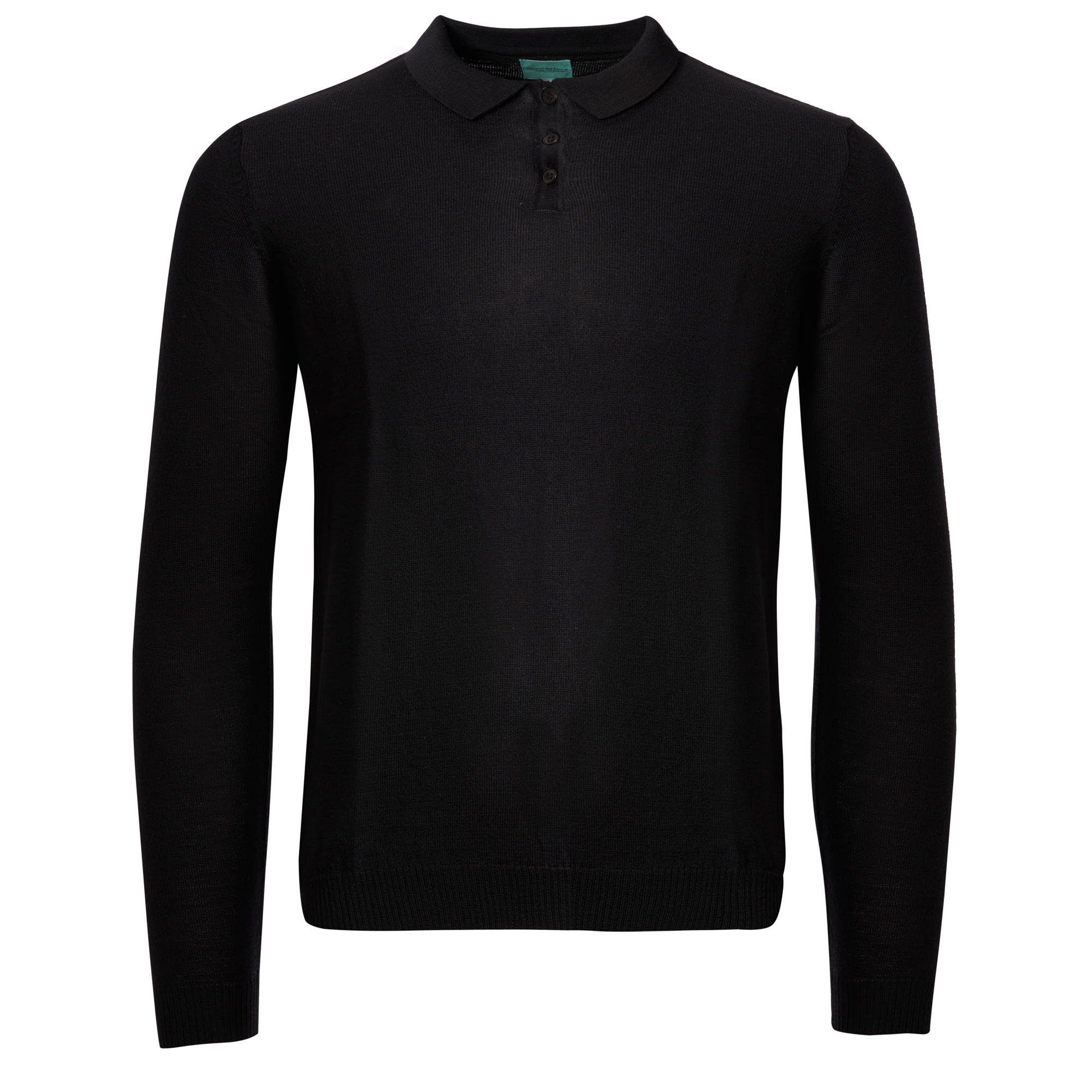 e1be0024d Long Sleeve Knitted Polo Shirt - Black