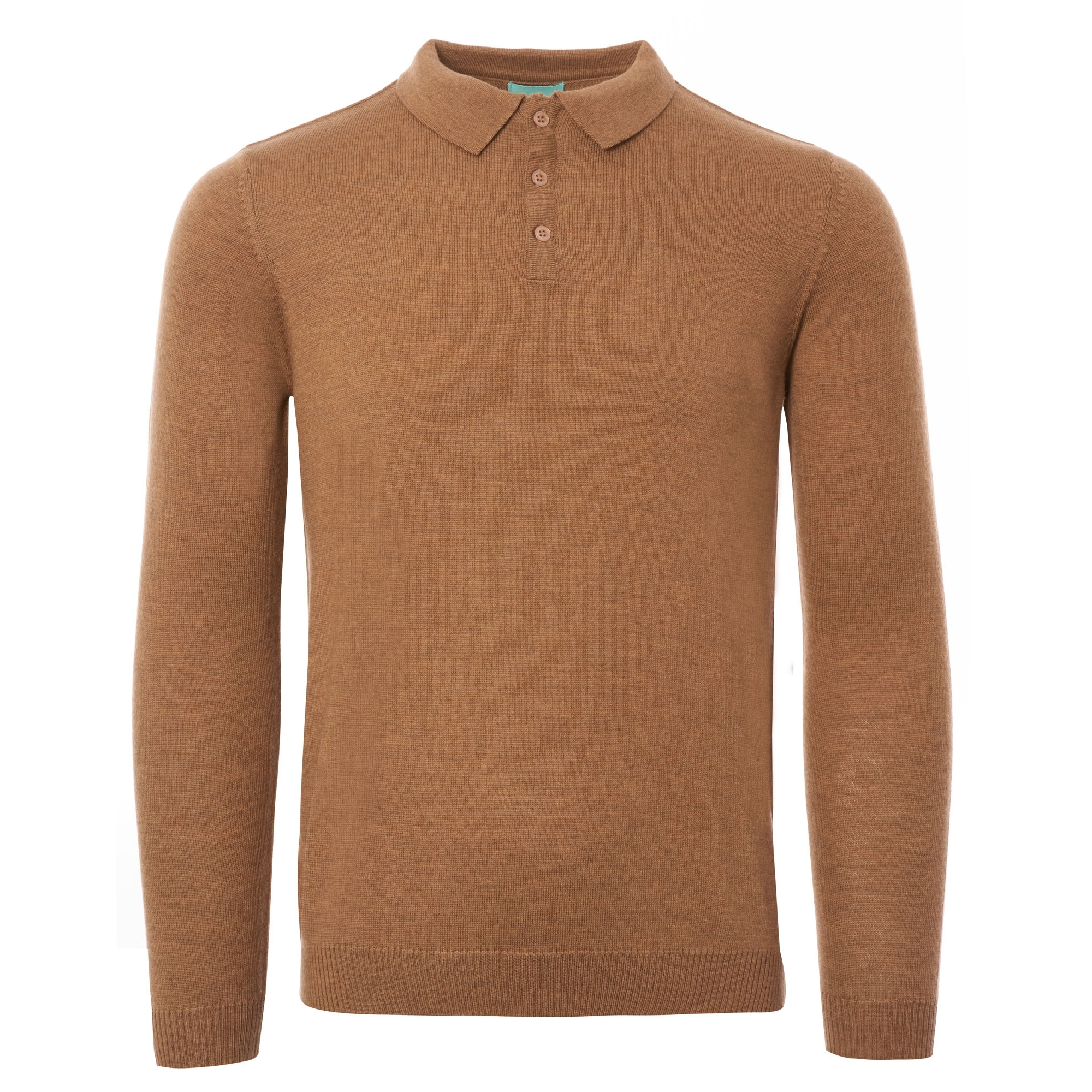 c496dfde1 Long Sleeve Knitted Polo Shirt - Camel