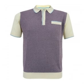 Merc London Olsen Cream Check polo Shirt 1614103