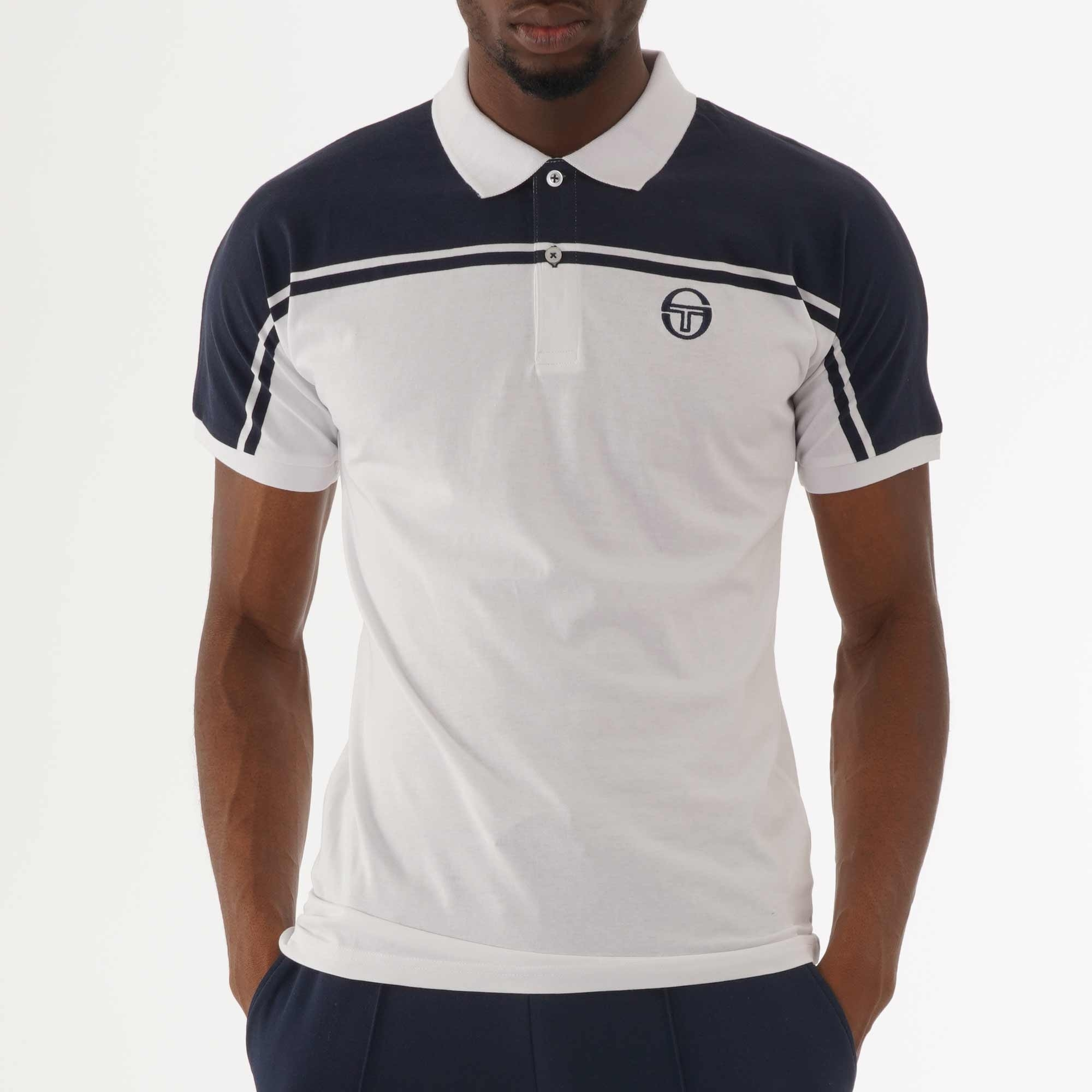 1ace63618 Sergio Tacchini New Young Line Polo Shirt   White & Navy   37177