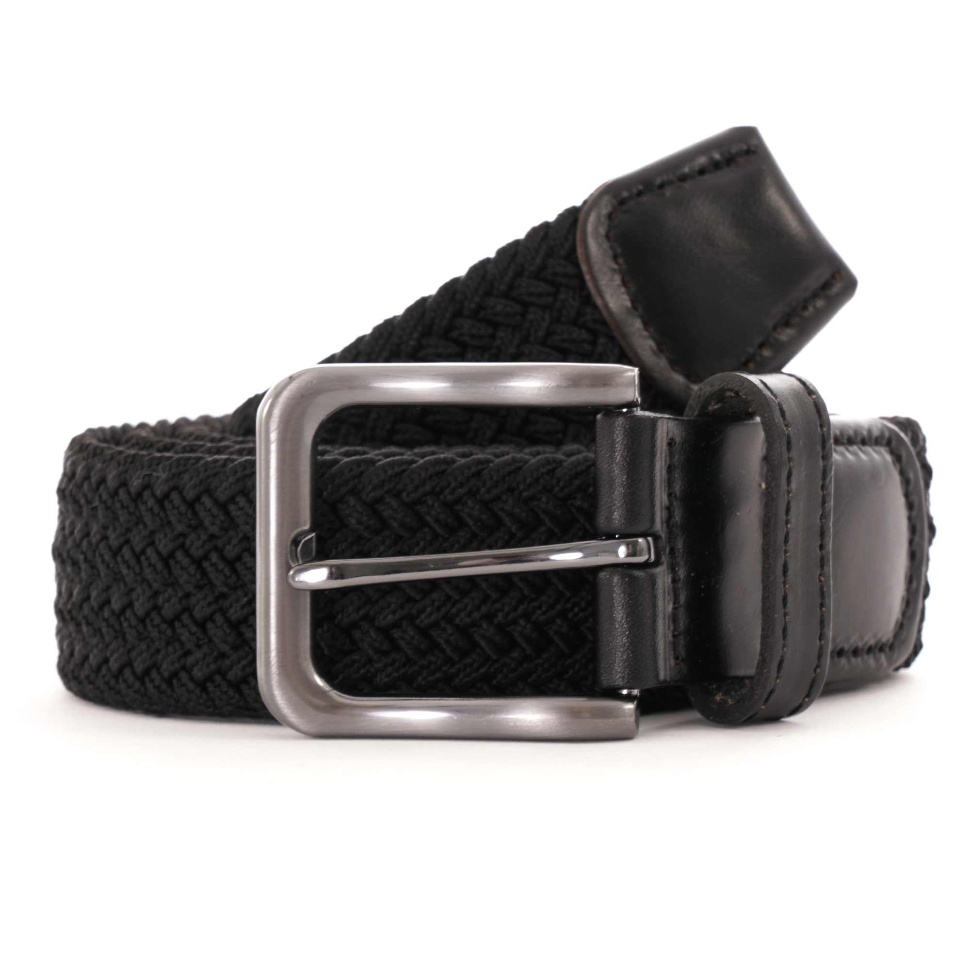 Image of 35mm Woven Leather End Belt - Black