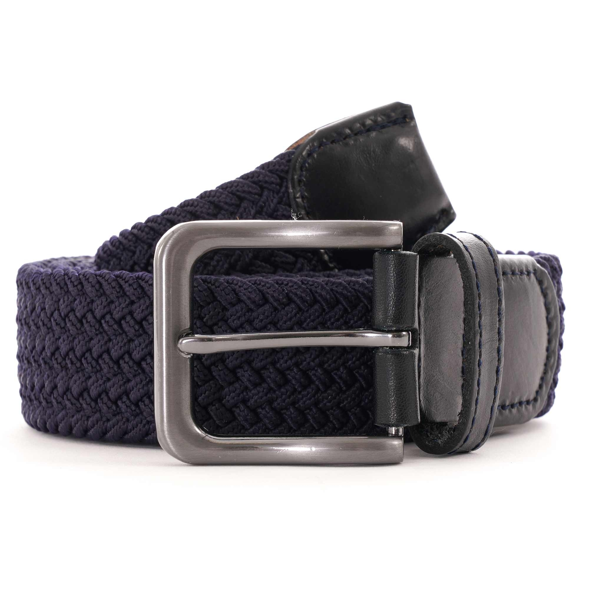 Image of 35mm Woven Leather End Belt - Navy