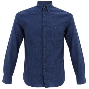Nudie<br /> Jeans Stanley Org Deep Blue Denim Shirt 140277B