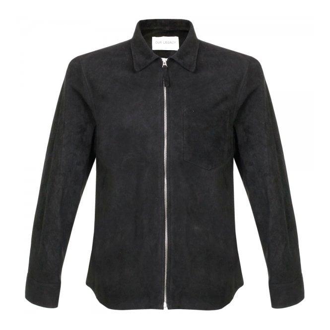 aa46f6a6d6db Our Legacy Suede Zip Black Shirt 21515SZSB