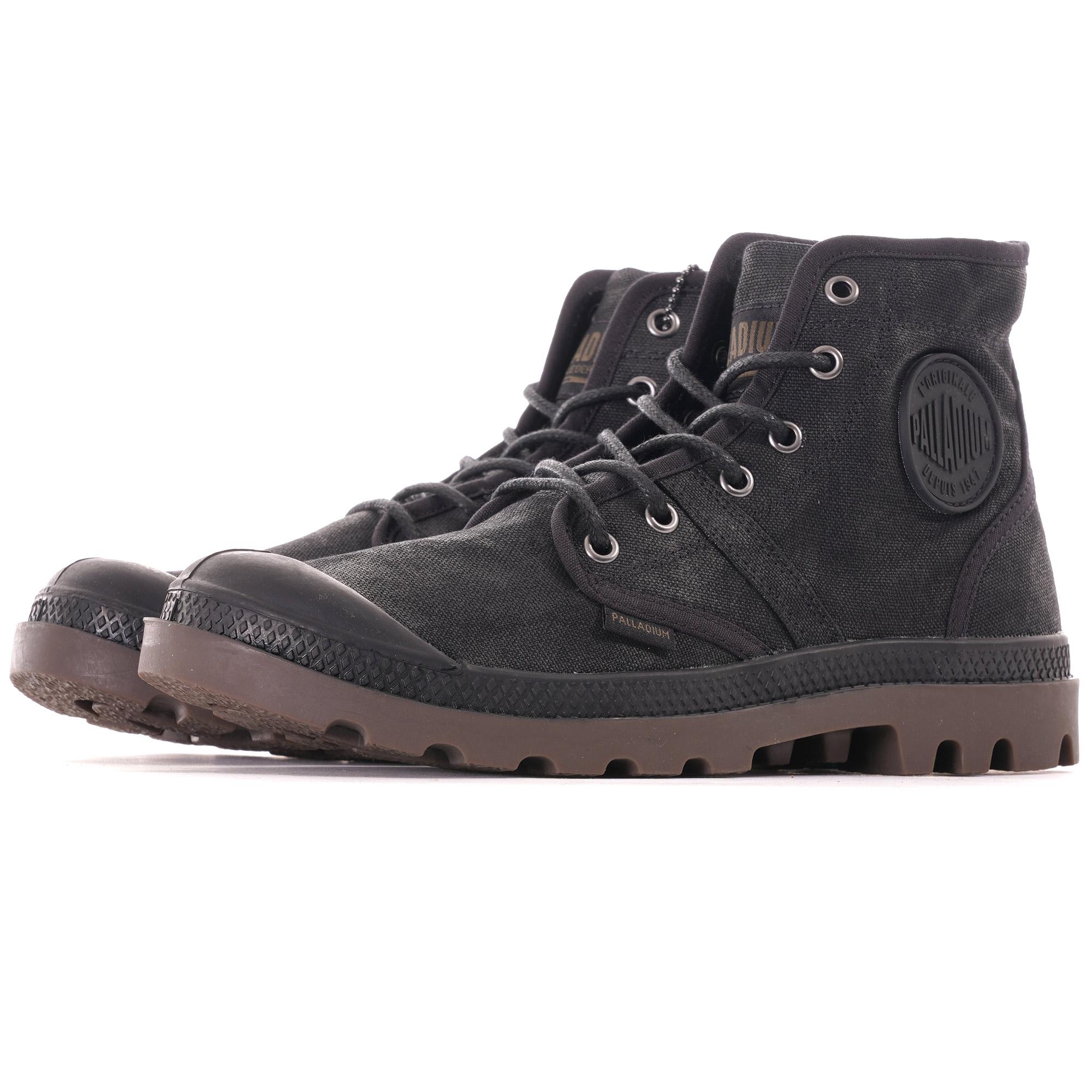 Palladium Pallabrouse Wax Black Dark Gum Women Canvas Ankle Military Style Boots
