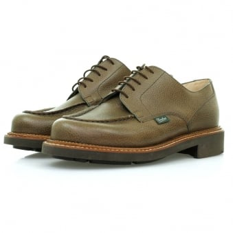 Paraboot Chambord Marron Grain Khaki Leather Shoes 157831