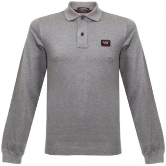 Paul and Shark LS Grey Pique Polo Shirt I15P1023