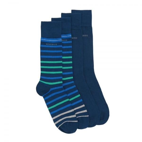 Hugo Boss Double Pack Striped Dark Blue Socks 50308097