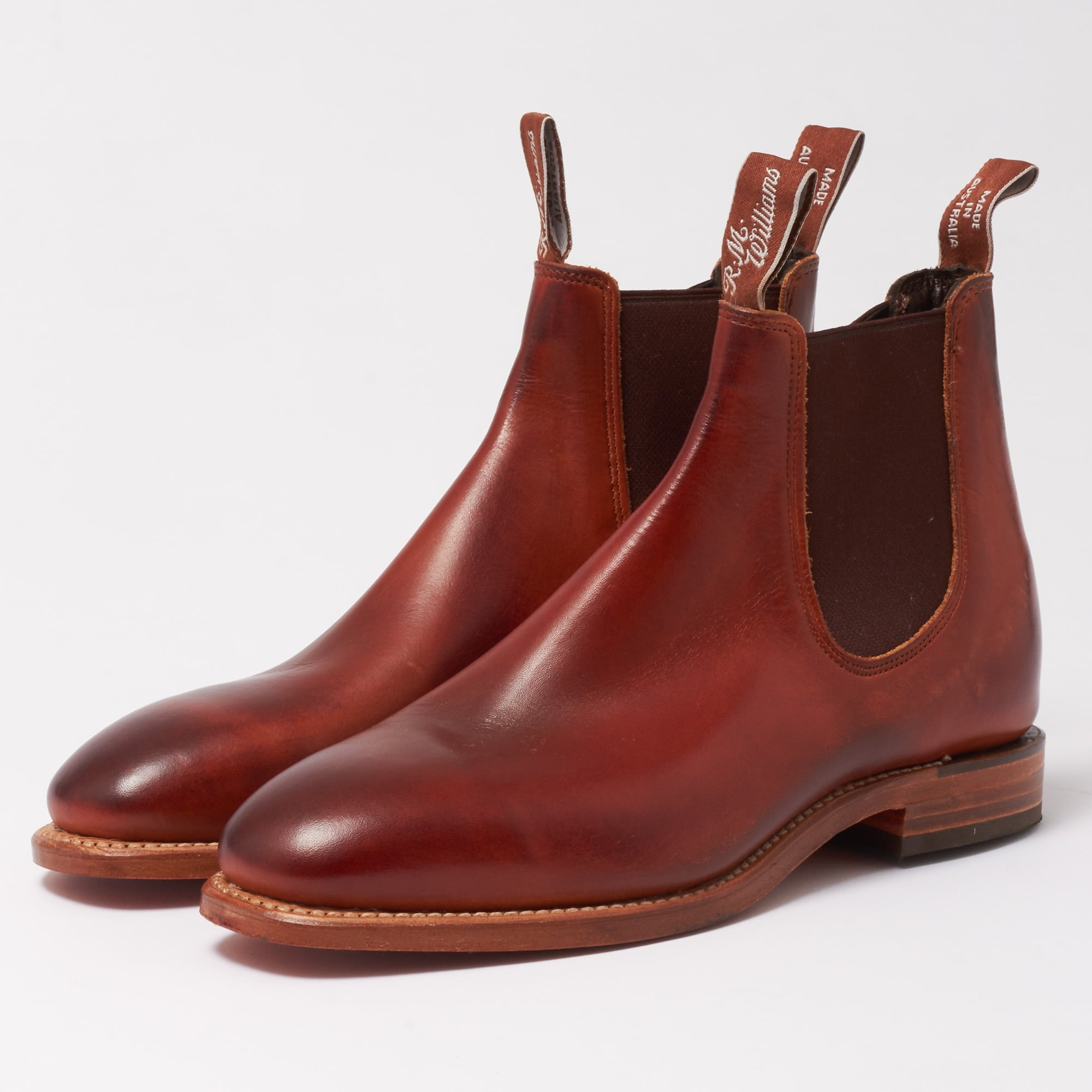 Cognac & Burnished Chinchilla Leather Chelsea Boot