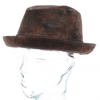 0bf74a5d65377 Radcliff Leather Player Fedora Hat - Brown