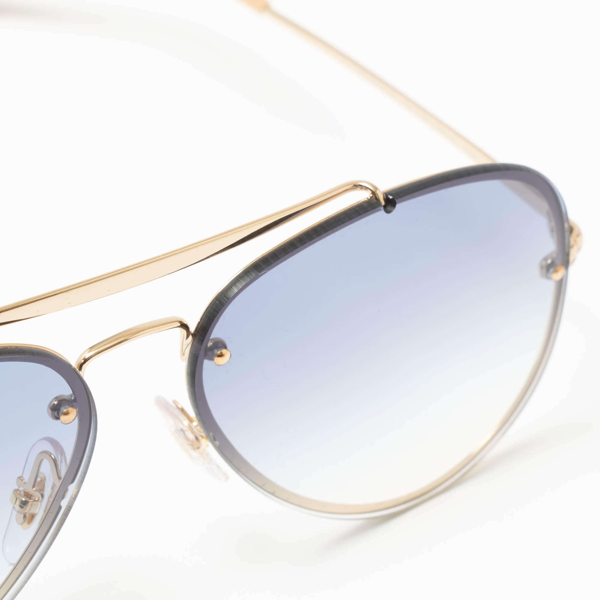 09ed8a82bc59a Gold Blaze Aviator Sunglasses - Light Blue Gradient Lenses