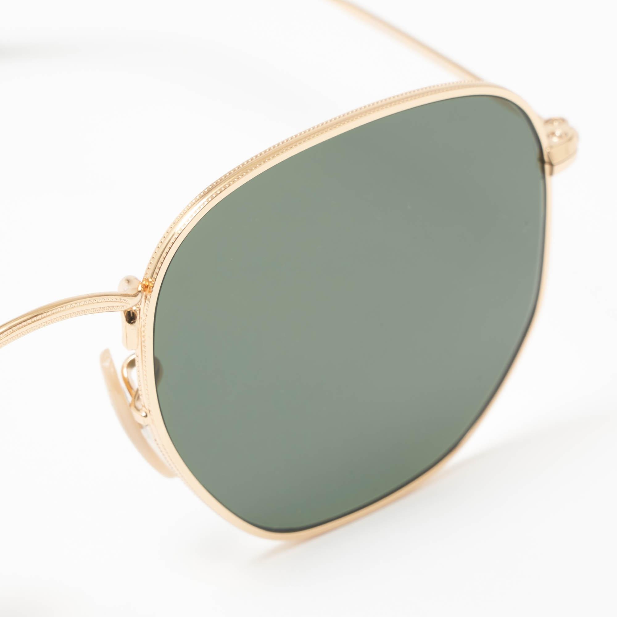 77dd4bd854a5f Gold Hexagonal Flat Lens Sunglasses - Green Classic G-15 Lenses