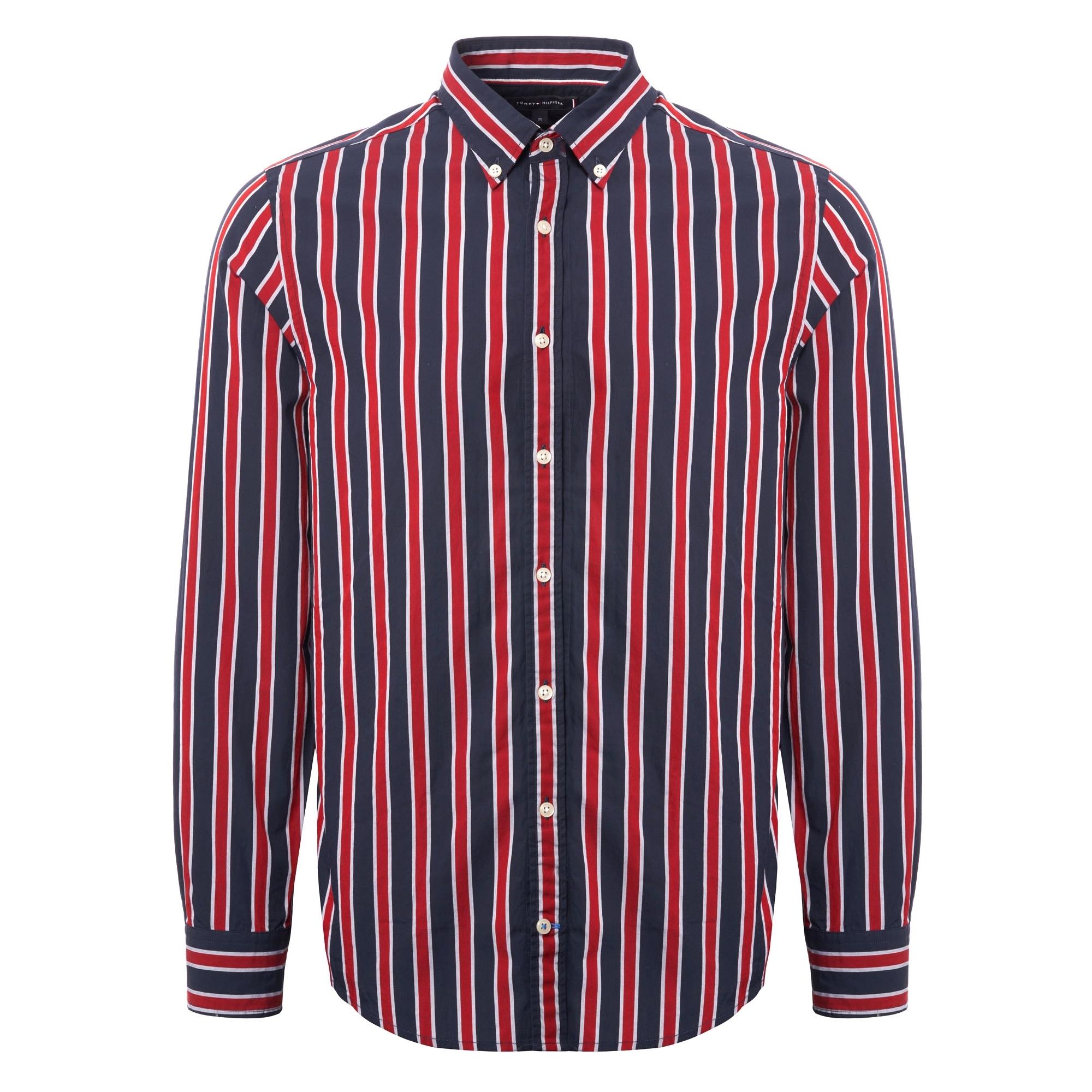 abd67793 Tommy Hilfiger Regimental Stripe Shirt | Red & Black | MW0MW07792